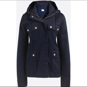 J. Crew Factory Resin Coated Twill Hooded Jacket